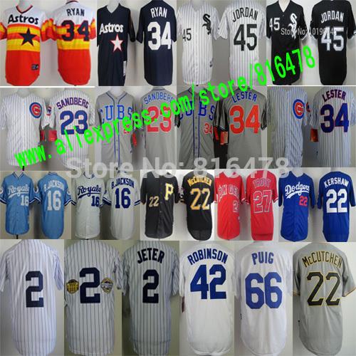 Yasiel Puig Jackie Robinson Mike Trout Clayton Kershaw jersey,nolan ryan Bo Jackson Derek Jeter Michael Jordan baseball Jerseys(China (Mainland))