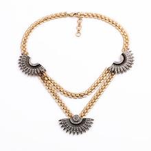 lulu branded fan pave black frost 2015 necklace sweater chain choker bijou colar decent stunning nouveau(China (Mainland))