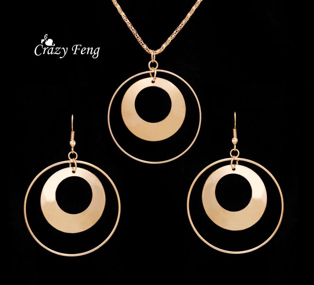 18 K Gold Filled conjunto de jóias colar brincos para mulheres acessórios jóias africano colar Wholeslae rodada(China (Mainland))