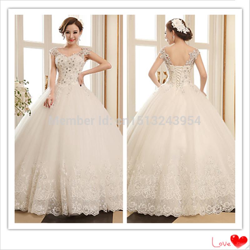 2015 salão Lace up cristal detalhamento lantejoulas Beading Cap manga curta vestido de baile V-neck andar de comprimento Tulle vestido de noiva(China (Mainland))