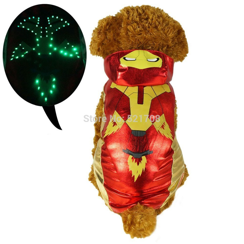Pawow LED Light up Special Super Hero Design Pet Apparel Dog Costume Puppy Dog Hoodie Clothes Iron Man Pet Costume(China (Mainland))