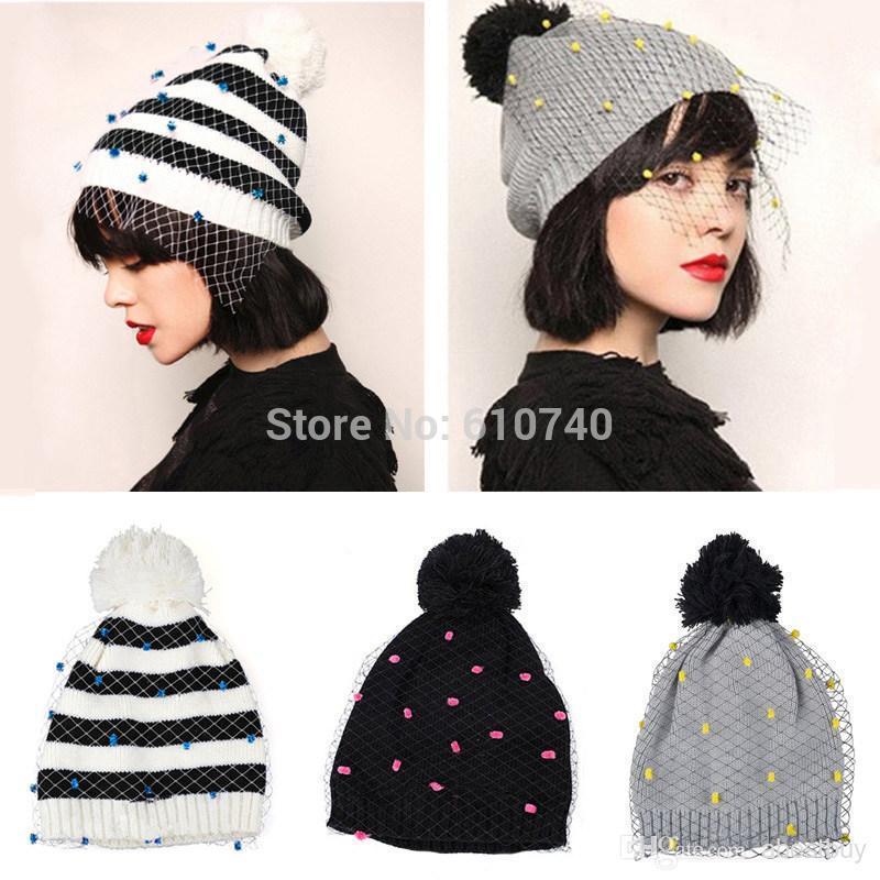 Fashion Vintage Hat Supermodel Veil Street Snap Net Yarn Knitted Cap Wool Hat Autumn Winter Hats For Women Women's Beanies(China (Mainland))