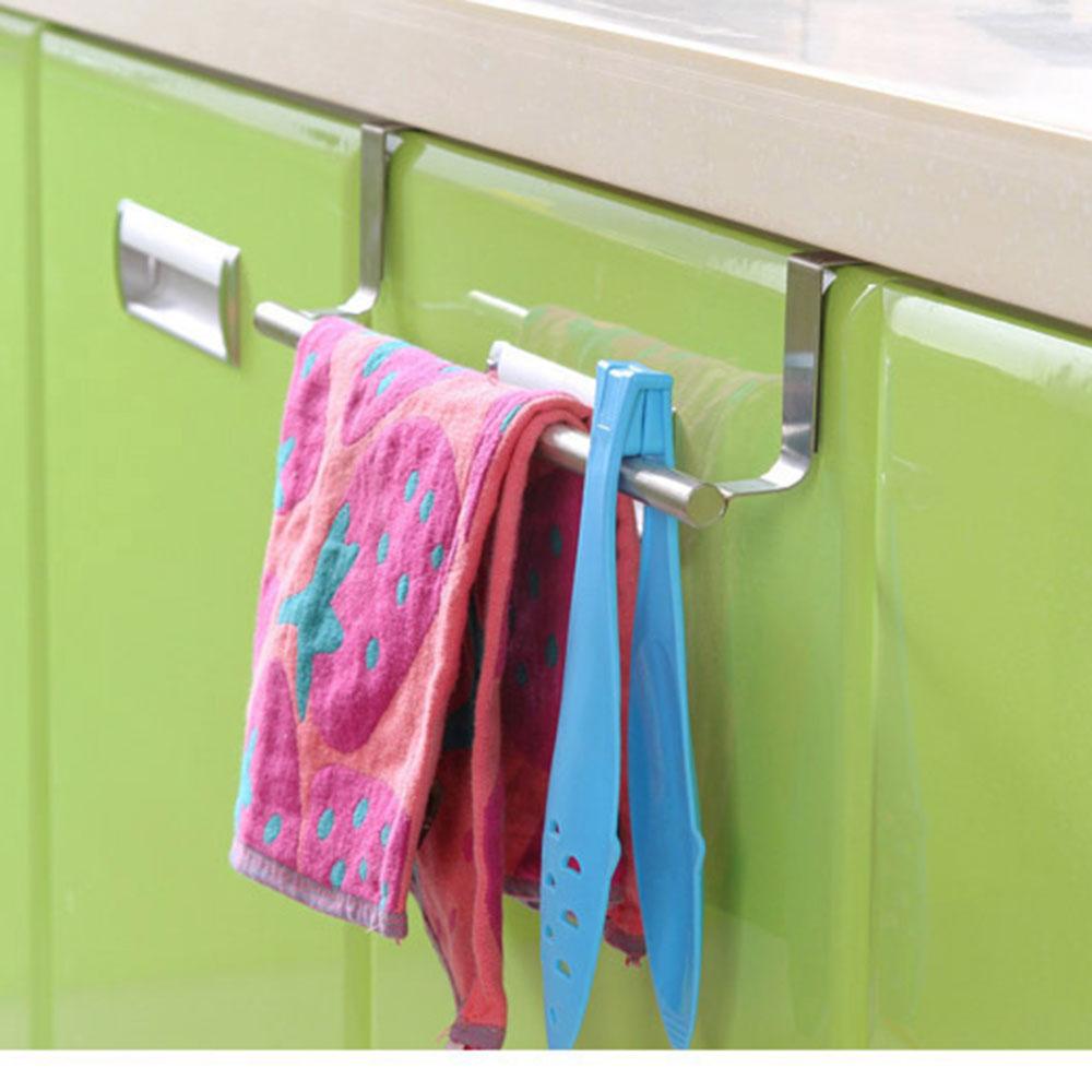 новые из нержавеющей стали держатель полотенца Бар крюк над дверью шкафа кухонного шкафа повешение стойку Аксессуары Держатели для хранения