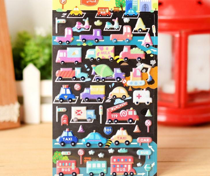 New Cute colors car & bus designs deco PVC sticker / mobile sticker / Decoration label / Wholesale(China (Mainland))