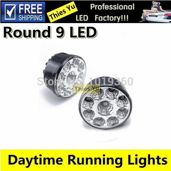 9 LED Round Shape Fog Light Lamp Kit Car Waterproof Auto LED DRL Daytime Running Light Free Shipping(China (Mainland))