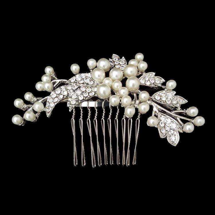 Beautiful New Women Leaf Crystal Rhinestone Pearls Hair Comb Clip Wedding Bridal Hairpins Hair Accessories Jewelry