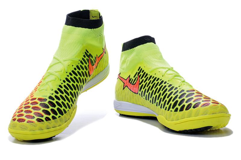 2015 novos homens de alta tornozelo botas de futebol indoor forelastico IC chuteiras azul / preto / laranja plano sneakers Futsal chuteiras de futebol(China (Mainland))