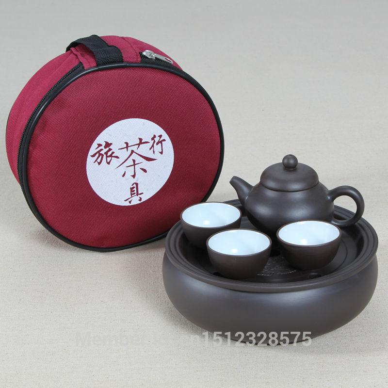 PROMOTION New Portable Travel Tea Purple Clay kung fu cup boat tea tray tea set GIFT