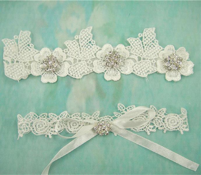 Free Shopping Women's Pearl Rhinestone Lace Bridal Garter, Lace Toss Garter, Ivory Lace Bridal Garter Set,(China (Mainland))