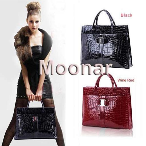 US STOCK !! 2015 Women Handbag Luxury OL Lady Crocodile Pattern Hobo Shoulder Bag Black & Red Purse J*50CB271#C6(China (Mainland))