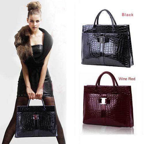 US Stock! Hot Sale Women Handbag Luxury OL Lady Crocodile Pattern Hobo Tote Shoulder Bag Black & Red X*USB271#S3(China (Mainland))
