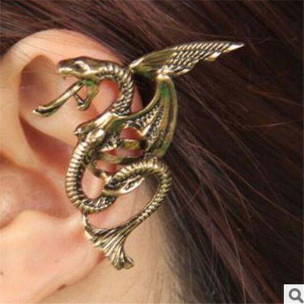 Fast Delivery Vintage Black Silver Bronze Punk Temptation Metal Dragon Bite Ear Cuff Clip Wrap Small Jewelry Shop 1 pcs/lot(China (Mainland))