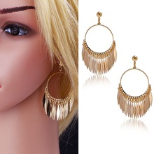 2015 New Fashion Vintage Enthusiasm Style 18K Gold Plated Feather Pendant Classical Drop Earrings For Women Gifts