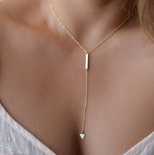 1pc Casual Fashion Metal Chain Bar Circle Lariat Triangle Punk Sexy Necklace AND243