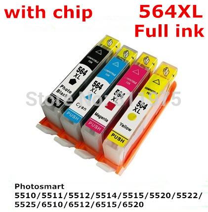4ink 564 564XL картридж с для hp Photosmart 5510 / 5511 / 5512 / 5514 / 5515 / 5520 / 5522 / 5525 / 6510 / 6512 / 6515 / 6520 принтера janome 423s 5522