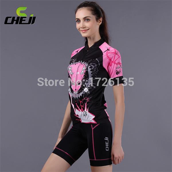 Cheji camisa de ciclismo / bicicleta Jersey e shorts apertados / mulheres vestuário / bicicleta roupas grátis frete pode ser personalizado(China (Mainland))