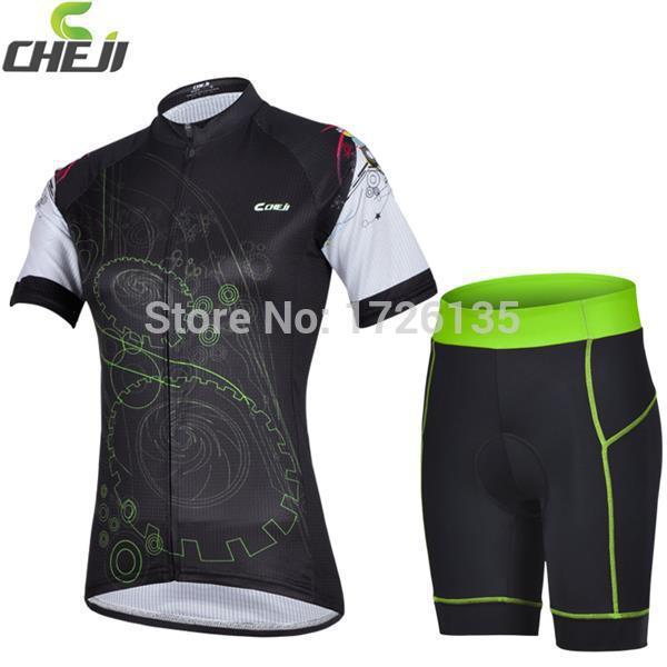 2015 CHEJI camisa de ciclismo / bicicleta Jersey e usar calções apertados almofada de gel de bicicleta vestuário bicicleta mulher roupas(China (Mainland))