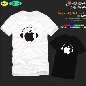 personality DJ headphones Apple cartoon Printed Men's T-Shirt T Shirt For Men 2015 New Short Sleeve O Neck Cotton Casual Top Tee(China (Mainland))