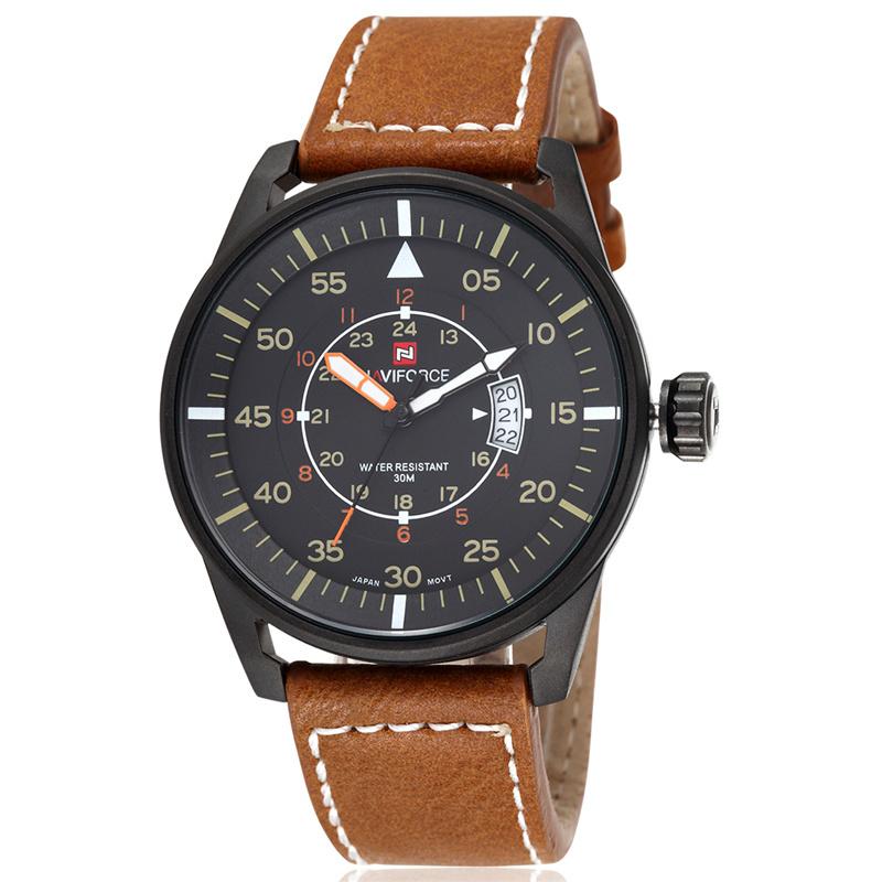 NAVIFORCE New Genuine Leather Watch Men Luxury Brand Quartz Watch Analog Display Date Men Watch relogio(China (Mainland))