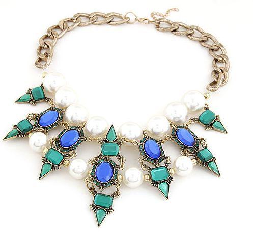 New Punk jóias de luxo resina pérolas Inlay Rivet pingente colar colar grátis frete(China (Mainland))