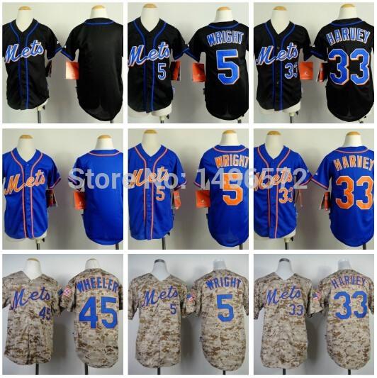 Kids New York Mets 33 Matt Harvey Jersey Blue Black Camo Cool Base Stitched 5 David Wright 45 Zack Wheeler Kids Baseball Jersey(China (Mainland))