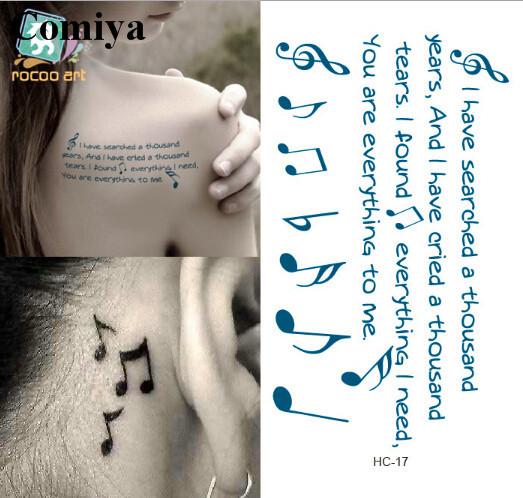 b Music Note Tattoo Music Note Temporary Tattoo