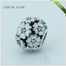 Fits Pandora Bracelets Primrose Silver Beads with White Enamel New Original 100% 925 Sterling Silver Charm DIY Jewelry FL25166A