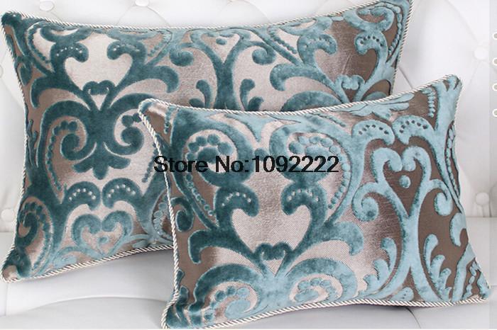 Luxe bleu vert mode bois massif canap ofhead coussin for Gros coussin de canape