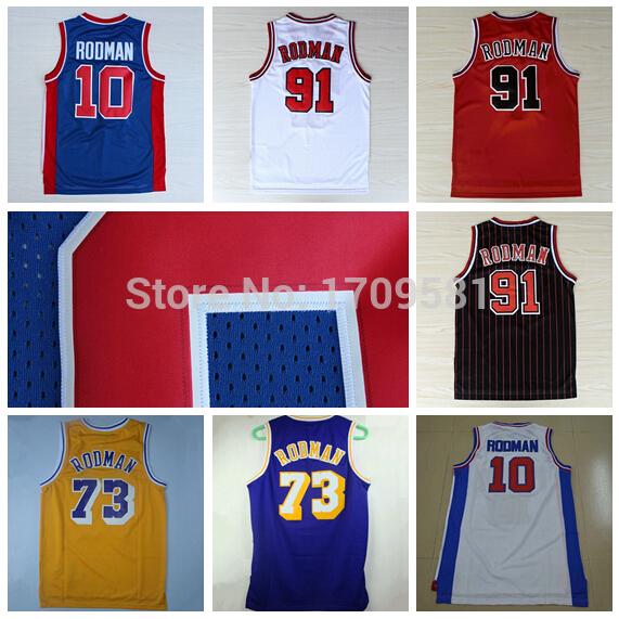 Newest Detroit #10 Dennis Rodman Jersey Chicago #91 Dennis Rodman Men's Jersey Los Angeles #73 Dennis Rodman Basketball Jerseys(China (Mainland))