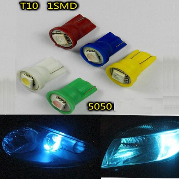 100pcs Car Light Auto LED T10 5050 1SMD Car LED light bulbs Day White(60000-7000k) 12v Free Shipping(China (Mainland))