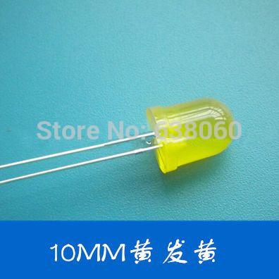 100pcs/lot yellow Led 10mm lighting emitting diode big lamp yellow body yellow light free shipping(China (Mainland))