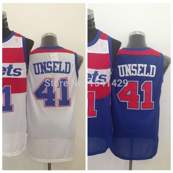 Baltimore Bullets #41 Wes Unseld White Blue Jersey, Cheap Washington Throwback Basketball Jerseys, Embroidery Logos, Size S-XXL(China (Mainland))