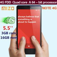 MIZO NOTE 4G 5.5 inches FDD-LTE Phone Celular MT6732 3G RAM 13.0MP Quad Core Dual SIM GPS WCDMA Android smartphone Mobile Phone