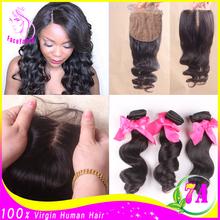 Loose Wave Silk Base Closure With Bundles Peruvian Virgin Human Hair Bundles With Silk Base Closure 3 Bundles With Silk Closures(China (Mainland))