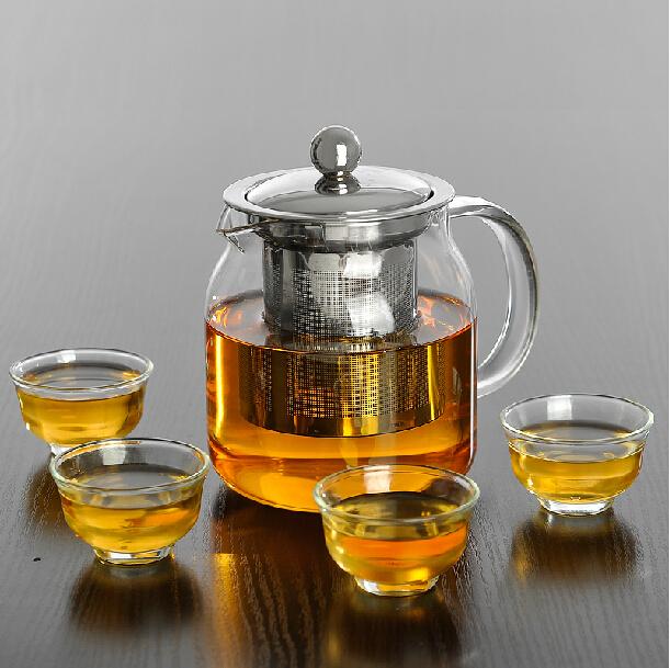 Hot ! New 700ml Tea Kettle Tea Pot Heat-Resistan Glass Teapot Convenient Office Tea Pot Set Stainless steel Strainer & Lid(China (Mainland))