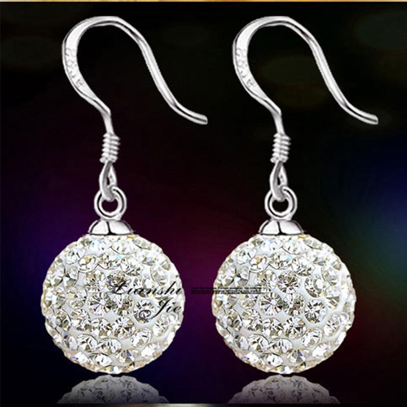 New Arrival 925 Sterling Silver Shining CZ Diamond Crystal Shambhala Ear Earrings Jewelry(China (Mainland))