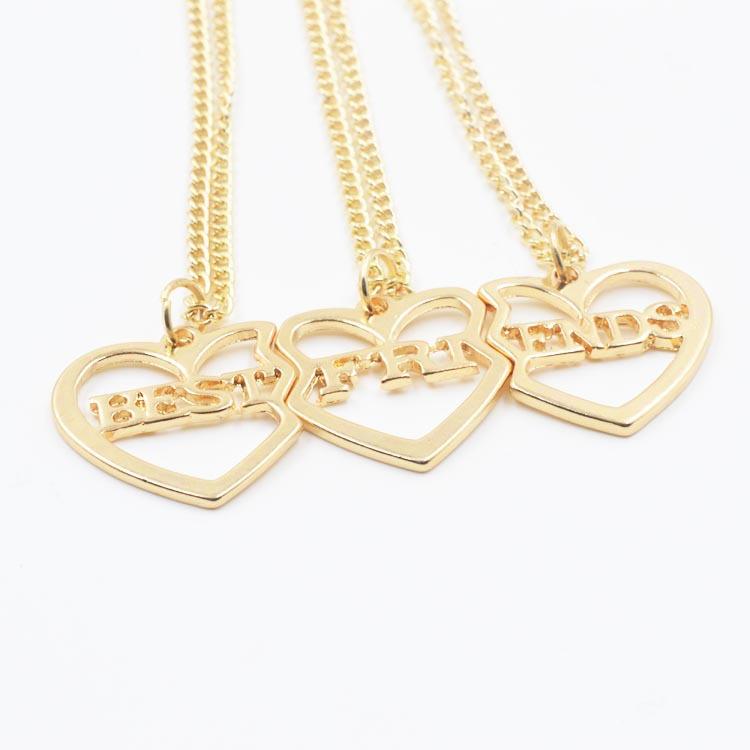 Free Shipping 3 Piece Separation Hearts Splice Necklace Best Friends Pendants Necklace 18K Golden Couples Love