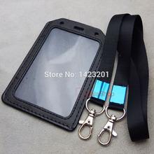 One set Strap lanyard Snap hook Exhibition Genuine leather ID Card Badge Holder Black(China (Mainland))