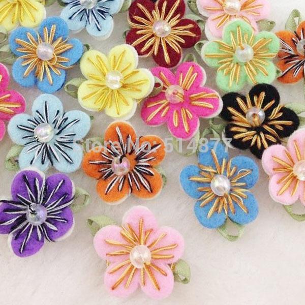 20PC Felt Flower w/Bead Leaf Appliques/Craft -10 colors -(pick color) A0167(China (Mainland))