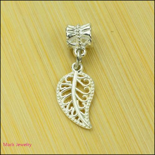 30pcs Fashion Big Hole Loose Beads Tree leaf European Pendant Beads Fits Pandora Charms Bracelets pendants