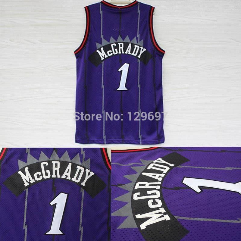 Toronto 1 Tracy McGrady Retro Throwback Basketball Jersey, Cheap Brand Mesh Embroidery Logo Tracy McGrady Jersey - Purple(China (Mainland))