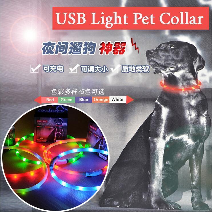 Pet Bar USB chargeable pet glow luminous collar LED dog collar pet safety dog collar necklaces wholesale GYP-GL-11(China (Mainland))