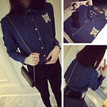 2015 весной новые женщины блузки длинный отрезок вышивка женщин с длинными рукавами джинсовые блузка джинсовые рубашки femal blusa