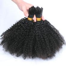 Rosa Hair Products Mongolian afro kinky curly bulk hair for braiding 100% virgin human hair no attachment Natural black hair(China (Mainland))