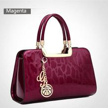 2015 new embossed patent leather high-end fashion elegant handbag Women's handbags Bag ladies Genuine leather bag Womens bags(China (Mainland))