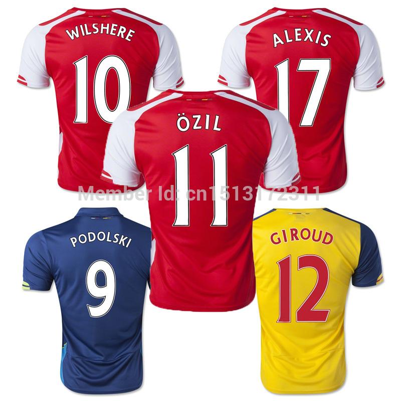 2015 ASL Football Jerseys OZIL ALEXIS RAMSEYPODOLSKI WILSHERE Best Thai Quality 14 15 Camisetas De Futbol Soccer Jersey(China (Mainland))
