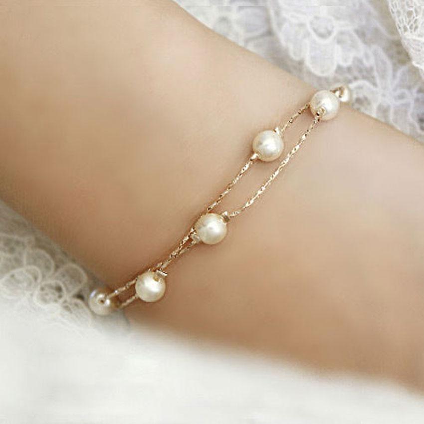 Elegant Jewelry Rose Gold Bracelet Imitation Freshwater Pearls Bead Chain Bangle(China (Mainland))