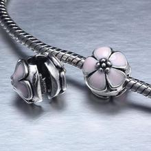 free shipping light pink Enamel Clip flower Charm safety Bead Fits European Pandora Charm Bracelets & Necklaces YW15028
