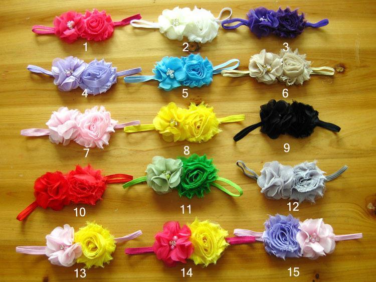Infant Baby Girls shabby chic Flower Headbands Newborn pearl rhinestone Baby Headband children hair Accessories(China (Mainland))