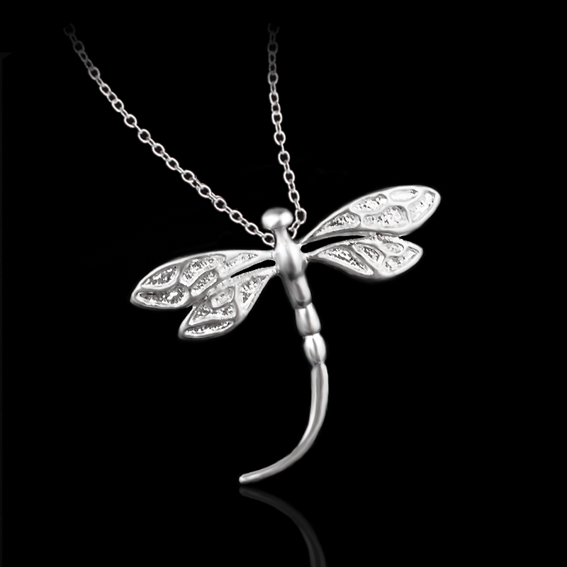 Fashion Jewelry Chains Necklace 925 Silver Big Dragonfly Pendant Necklace for Women(China (Mainland))